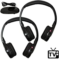 [2 Pack] Best Wireless RF Headphones for TV Watching - FM Stereo, Kid Size, Adult Size, Dual Channel AUTOTAIN CLOUD
