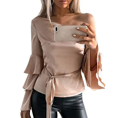 Sunhusing Ladies Sexy Skewed Shoulder Layered Ruffle Sleeve Long Sleeve Top Solid Color Lace-Up Casual T-Shirt