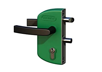 LOCINOX Verde LAKZ P1 Cerradura económica para puertas de jardín con carcasa de poliamida y mecanismo de acero inoxidable.