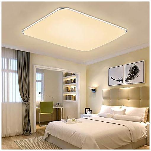 LARS360 48W Ultra sottile LED Bianco Caldo plafoniera moderno lampada da soffitto per soggiorno, cucina, camera, bagno, hotel – Argento, 2800-3500K