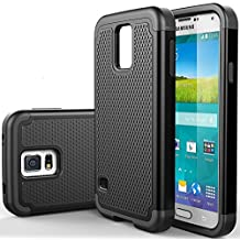 Samsung Galaxy S5 / S5 Neo Rugged Rubber Impact Heavy Duty Dual Layer Shock Proof Case Cover Skin - Black