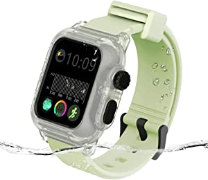 Casok Compatible with Apple Watch Series 6/SE/5/4 40mm Case with Band, Waterproof Shockproof Impact Resistant Protective Case with Silicone Sport Breathable Watch Band (Luminous Case/Luminous Strap)