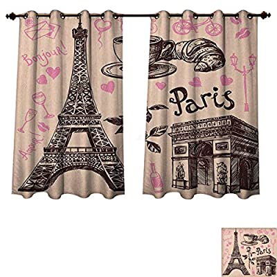 PriceTextile Eiffel Tower Blackout Thermal Curtain Panel Paris Eiffel Tower Bakery Delicious Croissant Traditional Floral Design Window Curtain Fabric Pink Dark Brown