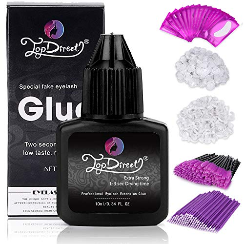 Professional Eyelash Extension Glue, TopDirect 10ml Black Adhesive 1-3 Sec Drying time, Retention 7 weeks Extra Strong + 16 pairs Gel Eye Pads + 100pcs Glue Holder Rings + 100pcs Eyelash Brushes ()