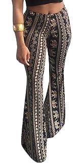 Domple Women Bodycon Polka Dot Print Stretch High Rise Ruffle Bell Bottom Flared Pants