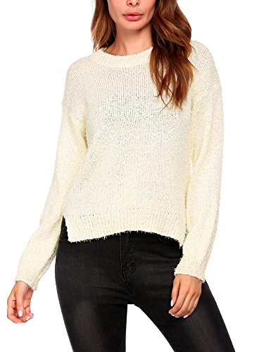 Women's Crew Neck High-low Hem Split Knit Pullover Sweater Jumper (Sweater Split Ribbed)