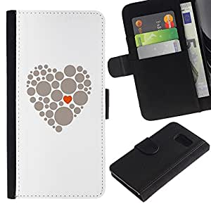 UberTech / Samsung Galaxy S6 SM-G920 / White Heart Dot Minimalist Orange Grey / Cuero PU Delgado caso Billetera cubierta Shell Armor Funda Case Cover Wallet Credit Card