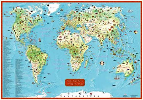 Childrens World Map Wall Map Illustrated World Map Map - Childrens wall map