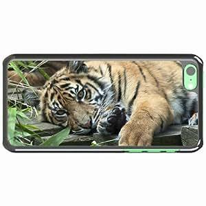iPhone 5C Black Hardshell Case tiger grass lie Desin Images Protector Back Cover