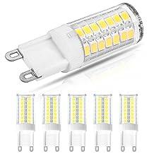 LOHAS G9 LED Bulb, Cool White 6000k, 5W LED Replacement for 40W Halogen G9 Bulb, 400LM Energy Efficiency LED Lights For Home Livingroom Bedroom Lighting (Pack of 5)