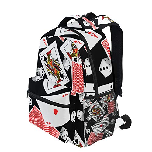 KVMV Six Sided Dice and Blackjack Cards Lightweight School Backpack Students College Bag Travel Hiking Camping ()