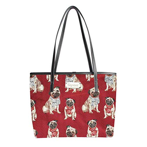 Red Pug Tote Bag Shoulder...