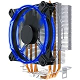 Compact CPU Cooler with 4 Pure Copper Heatpipe Radiator, Blue LEDs PWM Fan for AMD/Intel CPUs Heatsink