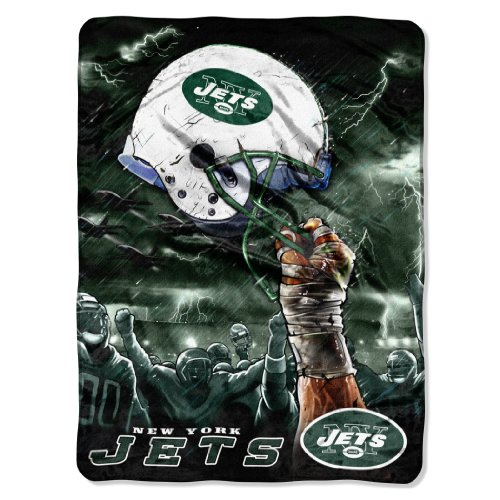 NFL New York Jets 60-Inch-by-80-Inch Plush Rachel Blanket, Sky Helmet Design