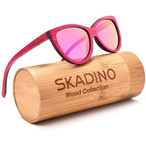 SKADINO Handmade Skateboard Wood Sunglasses with Pink Mirror Polarized Lenses for Men or Women in a Cateye That - Skateboard Glasses