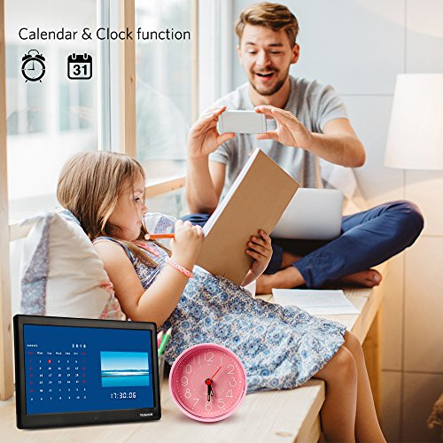 TENKER 10-inch HD Digital Photo Frame with Auto-Rotate/Calendar/Clock Function, MP3/Photo/Video Player with Remote Control (Black)