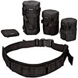 RoryTory 5pc Camera Organizer Case Bag Lens Organizer & Protector SD Storage Photo Belt System, for Travel & Backpacking, Convenient & Complete Camera Belt for Casual or Formal Photography Events