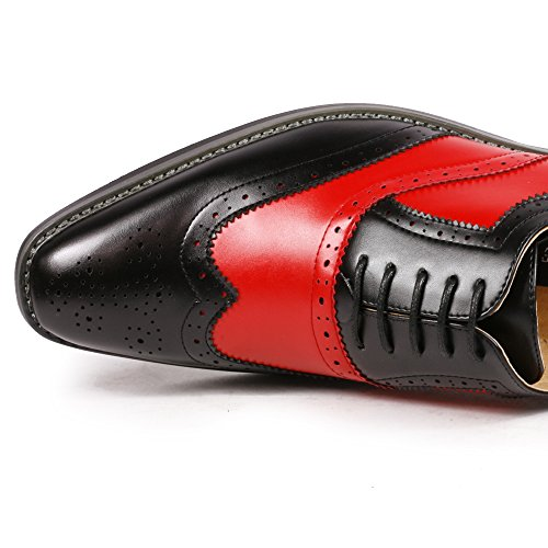 Uv Signature Pa002 Hommes Deux Tons Ajouré Pointe De Laiguille Lace Up Chaussures Robe Oxford Noir Rouge