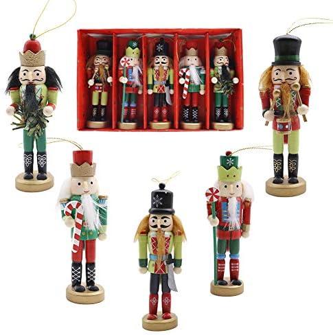5PCS 4.7 Wooden Nutcracker Ornament Set Christmas Retro Soldiers Figures Puppet Hanging Ornaments for Christmas Tree Decoration