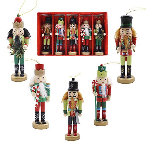 amor christmas nutcracker ornaments set 5pcs wooden nutcracker soldier hanging decorations for christmas tree figures puppet toy gifts - Christmas Soldier Decorations