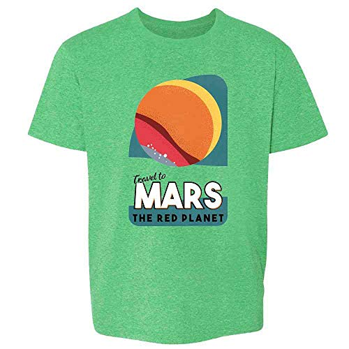 Mars The Red Planet Retro Fantasy Travel Space Heather Irish Green L Youth Kids T-Shirt