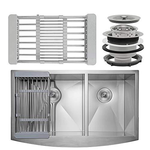 Firebird 33 x 22 x 9 Apron Farmhouse Handmade Stainless Steel Double Bowl 60/40 Kitchen Sink w/ Drain Strainer Kit Adjustable Tray