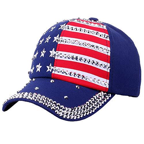 XIYUE Patriotic American Flag Baseball Cap USA Bling Sparkle Hat for Women Men 4th July Summer Sun Cap Blue, 59cm -