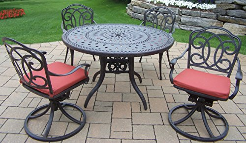 Oakland Living Berkley 5-Piece Set with 46-Inch Round Table, 2 Chairs, 2 Swivel Rockers and Spun Poly Cushions
