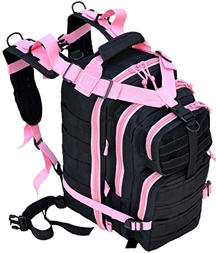 17″ Level 3 SWAT Black&Pink Tactical Military Style Assault Pack Backpack w/ Molle