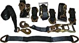 "4 Axle Strap Tie Downs 24"" Long and 4 Ratchet Tow Straps Car Haulers - Black"
