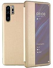 Oihxse Compatible con Samsung Galaxy S9 Funda, Flip Tapa Libro Folio PU Cuero Carcasa Ventana Lateral Inteligente Diseño Anti-rasguños 360° Protectora Tapa Case para Samsung Galaxy S9 (Dorado)