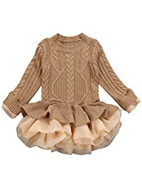 Little Girls Winter Dresses Knitted Sweater Crochet Tutu Dress Tops Clothes