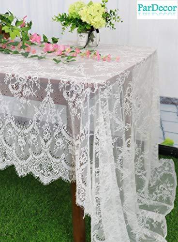 - White-Lace-Tablecloth Cream Lace Trim 60x120-Inch Ribbon Tablecloth Floral Design Wedding Dress Decoration Lace Fabric Craft Lace Trim Applique Table Linen