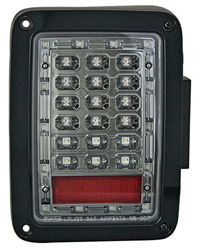 IPCW LEDT-420ESA Wrangler LED Taillight with Chrome Housing (Smoked Lens,with Amber Turn Signal,with LED Reverse light) ()