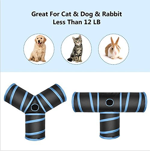 Creaker 3 Way Cat Tunnel, Collapsible Pet Toy Tunnel with Ball for Cat, Puppy, Kitty, Kitten, Rabbit (T-Shaped) by Creaker (Image #2)