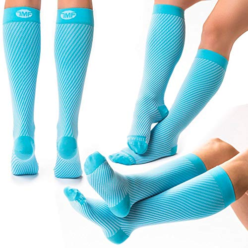 (3 Pairs of Compression Socks for Women, Running Gear for Women, Running Accessories, Athletic Near Seamless fit, Breathable Nylon and Spandex Graduated Womens Knee-High Compression Stockings -S)