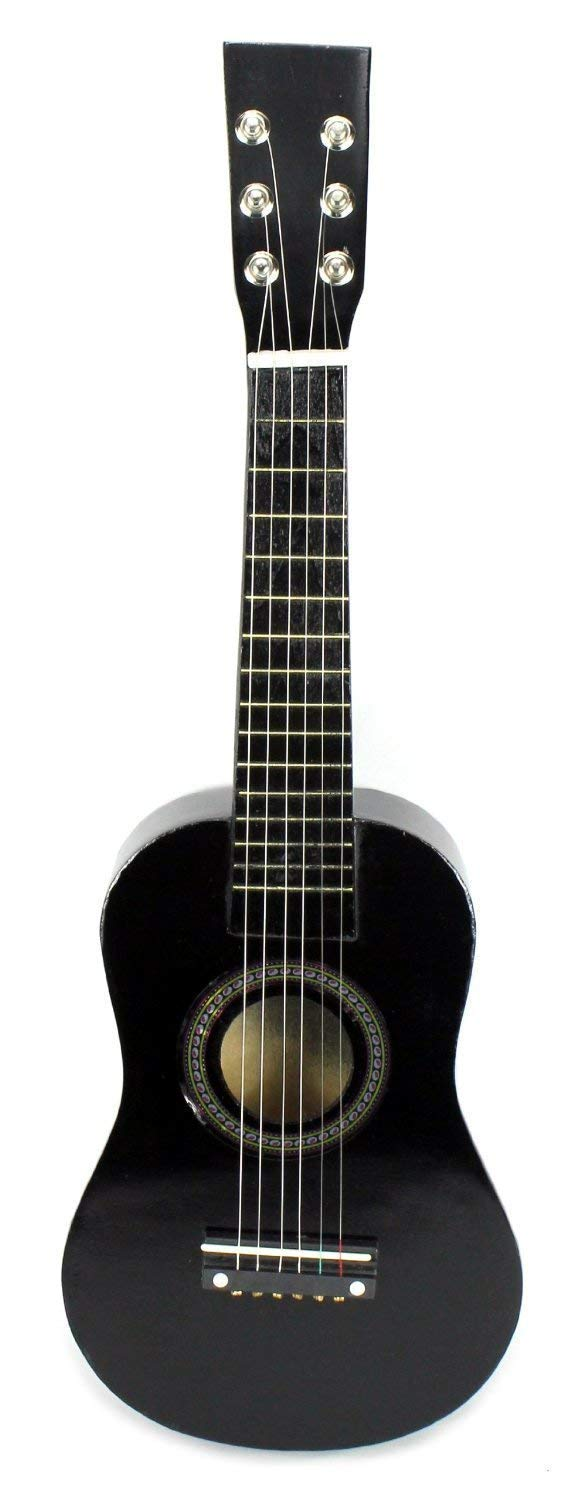 AJ Toys & Games Black Acoustic Classic Rock 'N' Roll 6 Stringed Guitar Toy Guitar Musical Instrument Kids, Includes: Guitar Pick & Extra Guitar String