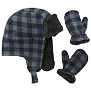 N'Ice Caps Little Boys and Baby Buffalo Plaid Fleece Trooper Hat Mitten Set (6-18 Months, Red Infant)
