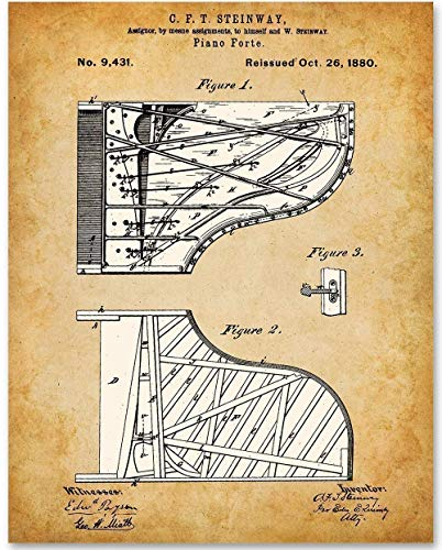 Steinway Piano - 11x14 Unframed Patent Print - Great Gift for Piano Players (Great Piano Players)