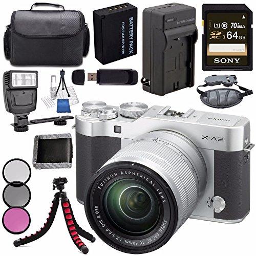 Fujifilm X-A3 Digital Camera w/16-50mm Lens (Silver) 16531635 + NP-W126 Lithium Ion Battery + External Rapid Charger + Sony 64GB SDXC Card + Case + Tripod + Flash + Card Reader + Card Wallet Bundle