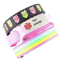 3 Bracelet Value Pack | Nut Allergy, Kid's Medical Alert Bracelets | Choice of Fun Designs | Children's Medical ID Bracelets | Adjustable