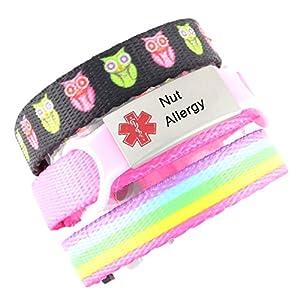 3 Bracelet Value Pack   Nut Allergy, Kid's Medical Alert Bracelets   Choice of Fun Designs   Children's Medical ID Bracelets   Adjustable