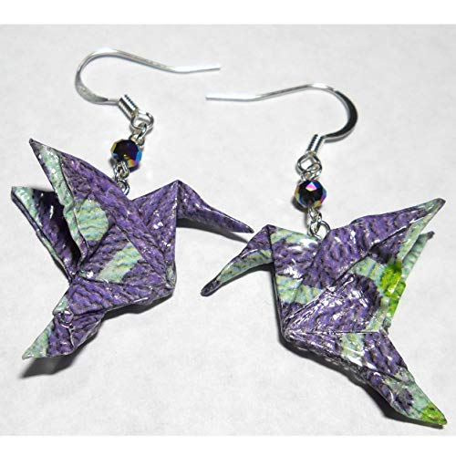 Lavender Purple Aqua Paper Origami Hummingbird with Faceted Glass Bead Earrings,1st Anniversary -