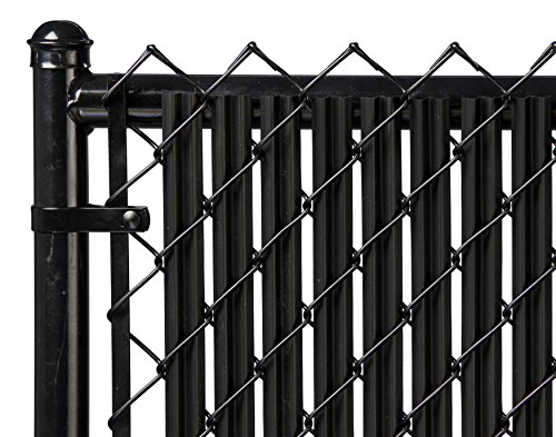 Ridged Slats Slat Depot Single Wall Bottom Locking Privacy Slat for 3', 4', 5', 6', 7' and 8' Chain Link Fence (5ft, Black)