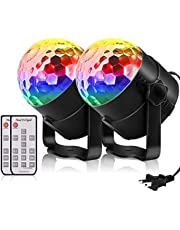 Disco Party Lights, Sound Activated Strobe Light Stage Light with Remote Control, 6 Colors RGB 7 Modes Disco Ball Light, Strobe Lamp for Home Room Dance Parties Bar Karaoke Xmas Wedding Show Club, 2 Pack