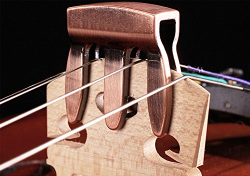 Strings Electric Bass Silencers (Violin Practice Mute Violin Silencer - Durable Chrome Metal Silencer (Red copper))