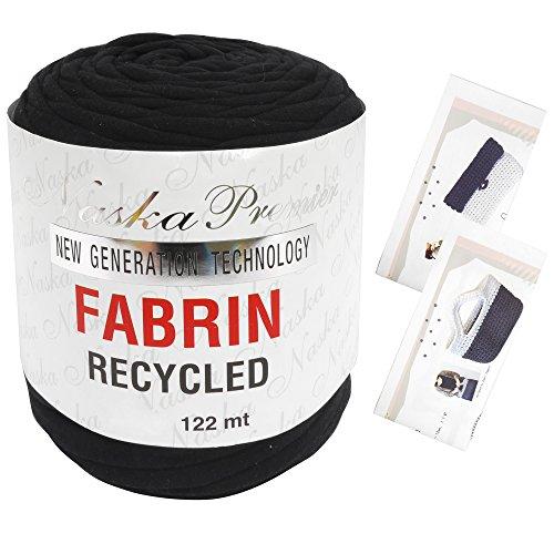 NASKA FABRIN ファブリン リサイクル Tシャツヤーン オリジナル編み図セット col.202 ブラック 系 N-85-1