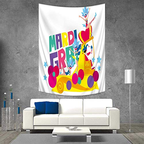 Anhuthree Mardi Gras Wall Tapestry Festival Parade Theme Dancers in Costumes Colorful Dots Stars Abstract Design Home Decorations for Living Room Bedroom 54W x 84L INCH Multicolor