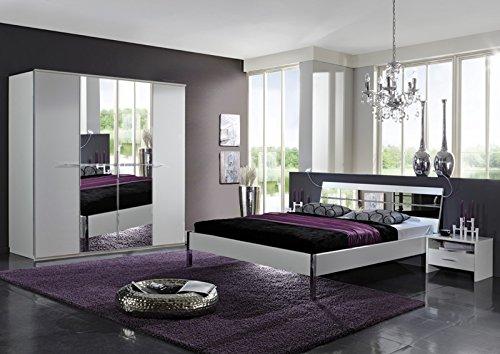 4-tlg Schlafzimmer weiss - Strasskristall Spiegel 160cm Bett Kleiderschrank