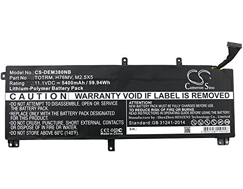 Cameron Sino 5400mAh / 59.94Wh Li-Polymer High-Capacity Replacement Batteries for DELL Precision M3800/ XPS 15 9530 , fits DELL 07D1WJ/ 0H76MY/ 245RR/ 7D1WJ/ H76MV/ M2.5X5/ T0TRM/ TOTRM by Cameron Sino (Image #4)